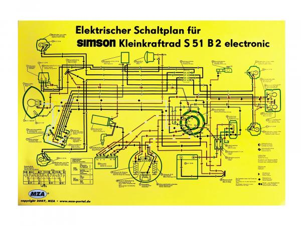 Schaltplan Farbposter (69x49cm) Simson S51 B2,  10007833 - Bild 1