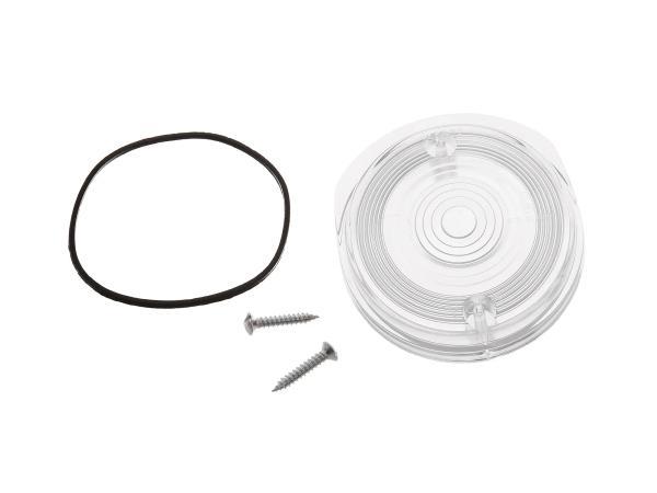 Blinkerkappe vorn, rund, weiß inkl. Gummidichtring + Schrauben - Simson S50, S51, S70, SR50, SR80 - MZ ETZ, TS,  10067493 - Bild 1