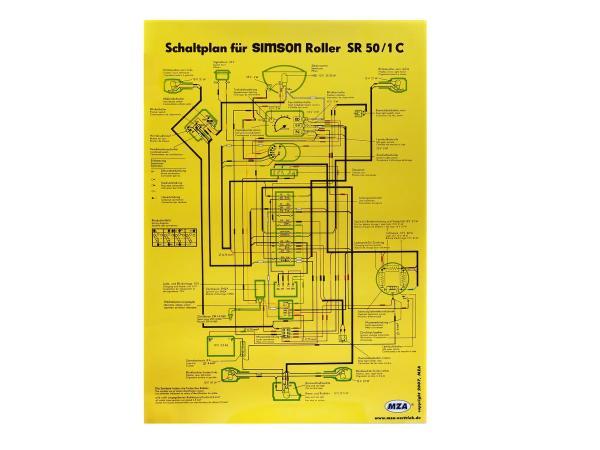 Schaltplan Farbposter (40x60cm) Simson SR50, SR80 1C 12V,  10005645 - Bild 1