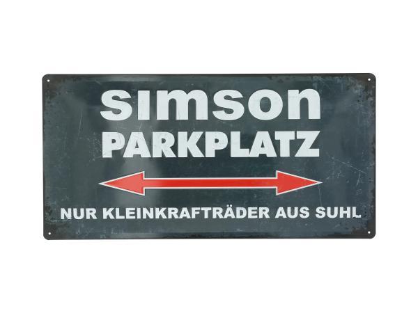 """Blechschild """"SIMSON-Parkplatz"""" 25x50 cm, grau/weiß,  10070954 - Bild 1"""