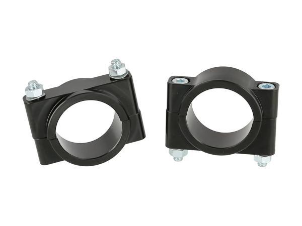 Set: CNC Klemmstücke für Schutzblech, Schwarz eloxiert, mit Schrauben - für Simson S50, S51, S70, SR50, SR80,  10070922 - Bild 1