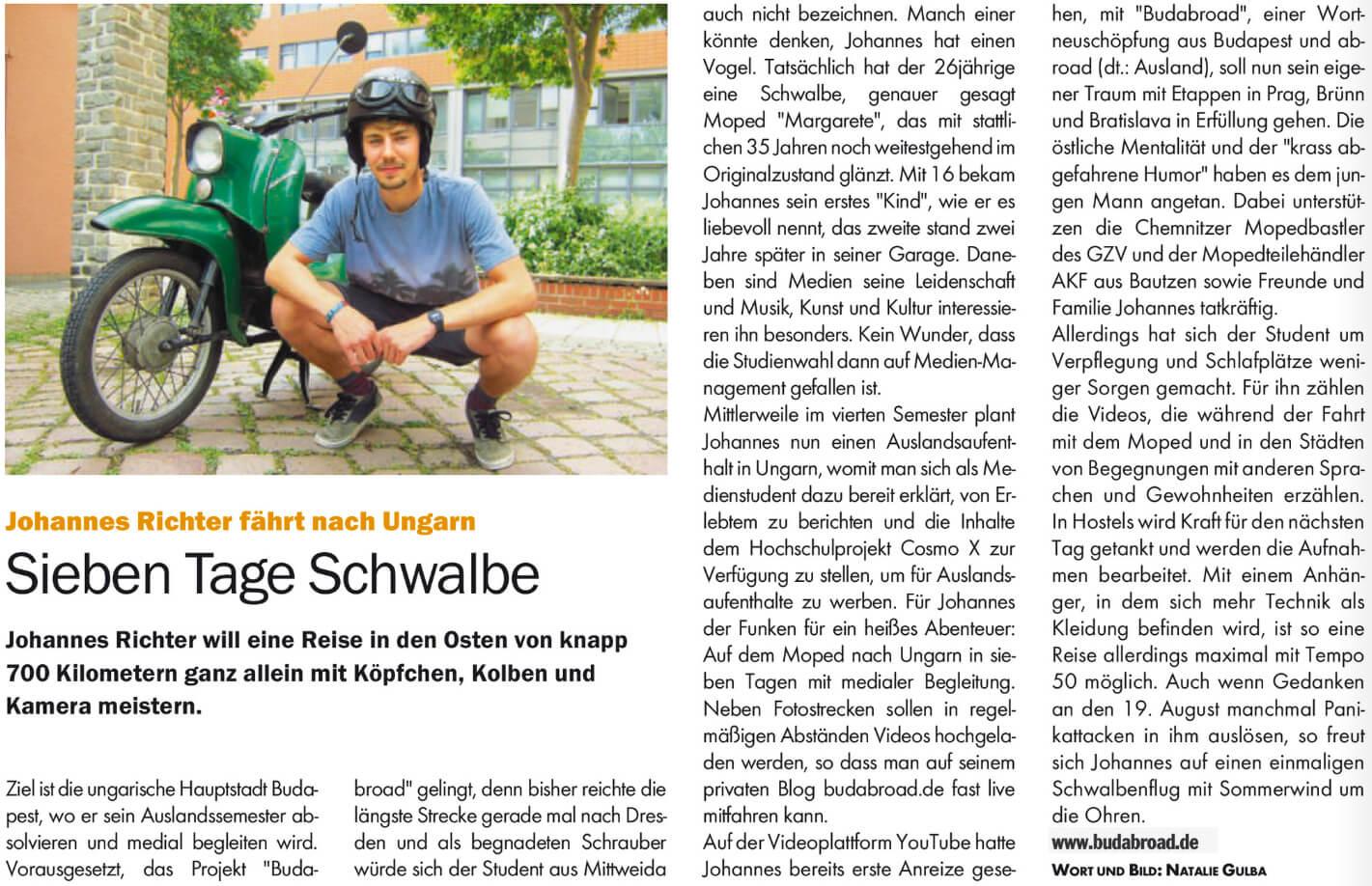 Budabroad im BLITZ!-Stadmagazin Chemnitz
