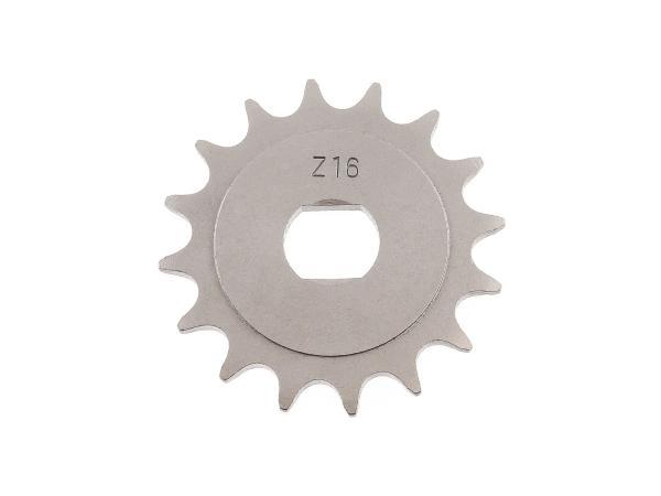 Ritzel, kleines Kettenrad, 16 Zahn - für Simson S51, S70, S53, S83, KR51/2 Schwalbe, SR50, SR80,  10000485 - Bild 1