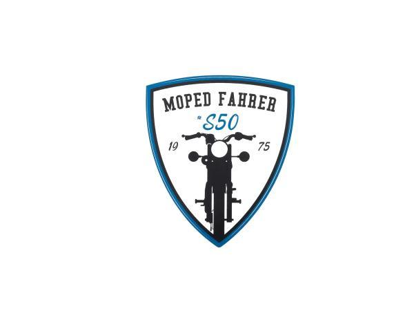 "10066331 Aufkleber - ""Moped Fahrer #S50"" Blau/Weiß/Schwarz, Wappen - Bild 1"