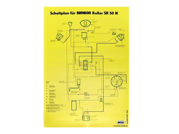 Schaltplan Farbposter (40x57cm) Simson SR50 N,  10007840 - Bild 1