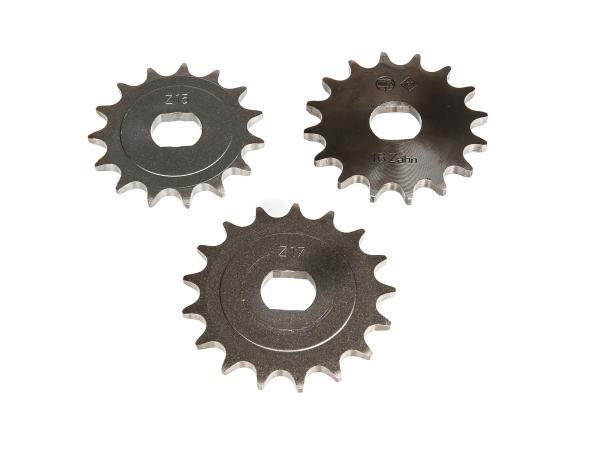 Set: Ritzel, kleines Kettenrad (15Z, 16Z, 17Z) - für Simson S51, S70, S53, S83, KR51/2 Schwalbe, SR50, SR80,  10000479 - Bild 1