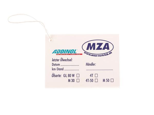 ADDINOL - MZA  Ölwechselaufkleber für Moped / Motorrad, sehr elastisch, gut auf Rundungen anzubringen (beschreibbar: km-Stand: / Händler: / Öl-Sorte),  10062238 - Bild 1